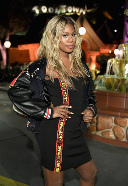 Laverne Cox Varsity Jacket [mickey the true original,collection,clothing,fashion,blond,dress,thigh,leg,event,long hair,outerwear,brown hair,mickey,disneyland,disney,campaign,celebration,opening ceremony,fashion show,launch]