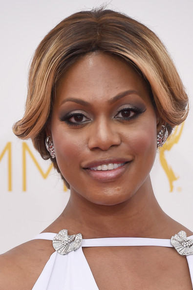 Laverne Cox Retro Updo [hair,face,hairstyle,eyebrow,chin,skin,beauty,lip,forehead,shoulder,arrivals,laverne cox,california,los angeles,nokia theatre l.a. live,primetime emmy awards]