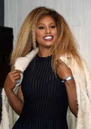 Laverne Cox accessorized with a simple silver bracelet during her visit to Macy's Herald Square.