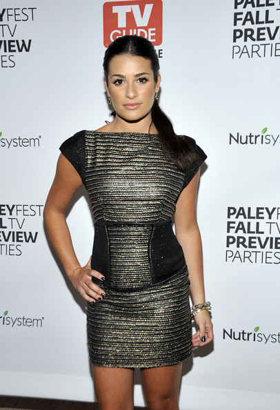 Lea Michele Beaded Bracelet [fox fall tv preview party,paleyfest tv guide magazine,clothing,fashion model,dress,cocktail dress,fashion,beauty,little black dress,hairstyle,shoulder,lip,beverly hills,california,paley center for media,lea michele]