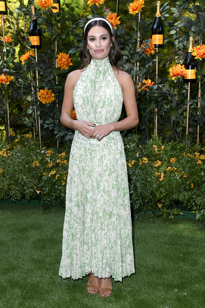 Lea Michele Halter Dress [clothing,dress,lady,fashion,formal wear,gown,spring,grass,event,photography,arrivals,lea michelle,los angeles,pacific palisades,california,will rogers state historic park,veuve clicquot polo classic]