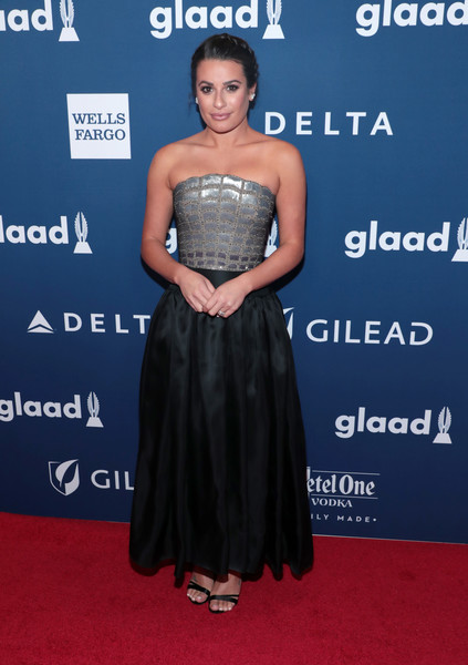 Lea Michele Strapless Dress [red carpet,dress,clothing,shoulder,strapless dress,carpet,premiere,red carpet,cocktail dress,fashion,gown,lea michele,glaad media awards,new york city,the hilton midtown]