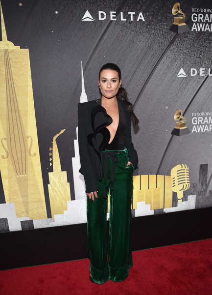 Lea Michele Blazer [red carpet,carpet,yellow,pantsuit,suit,flooring,premiere,formal wear,event,tuxedo,delta air lines celebrates 2018 grammy weekend,nominees,supporter,lea michele,celebrity guests,friends,julia michaels,grammy awards,performance,delta air lines]