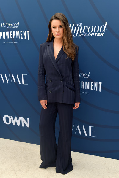 Lea Michele Pantsuit [the hollywood reporter,suit,clothing,pantsuit,formal wear,fashion,electric blue,tuxedo,outerwear,white-collar worker,long hair,arrivals,lea michele,hollywood,california,hollywood reporter,milk studios,empowerment in entertainment event]