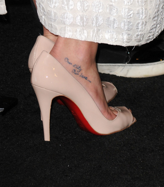Lea Michele Lettering Tattoo [high heels,footwear,leg,white,human leg,shoe,ankle,court shoe,foot,pink,arrivals,lea michele,style awards,hammer museum,california,westwood,hollywood style awards]