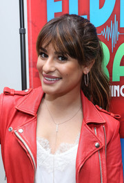 Lea Michele looked pretty wearing her hair in a half-up style with center-parted bangs during her visit to the 'Elvis Duran Z100 Morning Show.'