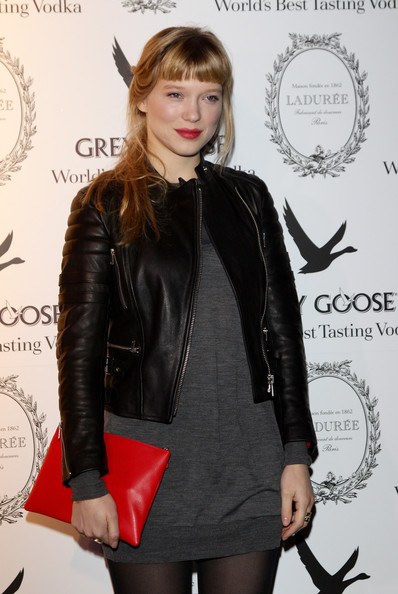 More Pics of Lea Seydoux Loose Ponytail (4 of 32) - Lea Seydoux Lookbook - StyleBistro [lea seydoux,clothing,leather,lady,jacket,leather jacket,fashion,joint,outerwear,dress,textile,grey goose christmas boutique,milan,italy,lea seydoux hosts grey goose]