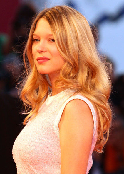 Lea Seydoux Long Wavy Cut [lancia on the red carpet,hair,hairstyle,blond,long hair,fashion model,beauty,layered hair,hair coloring,chin,brown hair,lea seydoux,venice,italy,67th venice film festival]