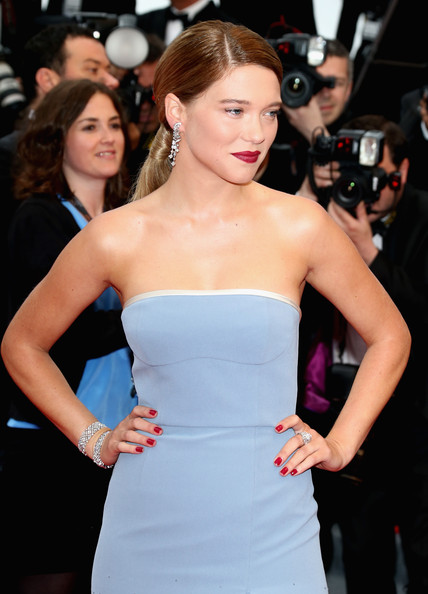 Lea Seydoux Red Nail Polish [hair,dress,clothing,strapless dress,hairstyle,premiere,shoulder,beauty,long hair,lip,cannes,france,grand central premiere - the 66th annual cannes film festival,palais des festivals,cannes film festival,lea seydoux]