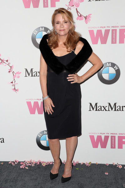 Lea Thompson Little Black Dress [film,dress,clothing,little black dress,cocktail dress,shoulder,premiere,joint,footwear,carpet,style,women,lea thompson,women in film 2017 crystal lucy awards,crystal lucy awards,the beverly hilton hotel,california,max mara,bmw,red carpet]