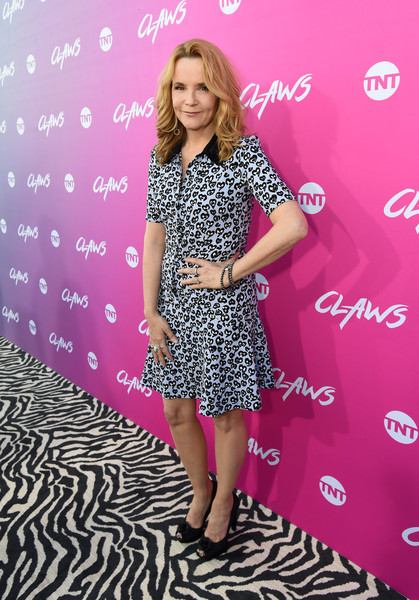 Lea Thompson Shirtdress [clothing,dress,pink,footwear,magenta,pattern,shoe,long hair,style,lea thompson,claws,harmony gold theatre,los angeles,california,tnt,tnt claws premiere,premiere]