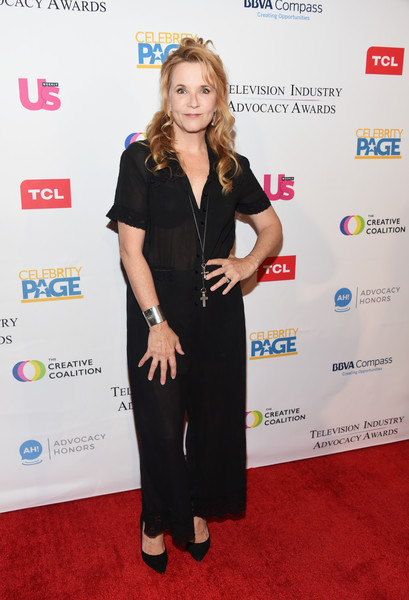 Lea Thompson Jumpsuit [red carpet,clothing,carpet,dress,fashion,flooring,little black dress,premiere,event,award,arrivals,lea thompson,sofitel los angeles,california,beverly hills,creative coalition,television industry advocacy awards]
