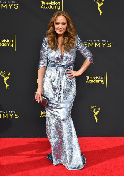 Leah Remini Metallic Clutch [red carpet,clothing,carpet,premiere,flooring,fashion,fashion model,dress,long hair,footwear,arrivals,leah remini,creative arts emmy awards,los angeles,california]