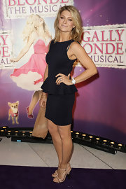 Natalie Bassingthwaighte perfectly matched her peplum dress with a pair of nude strappy heels at the premiere of 'Legally Blonde the Musical.'