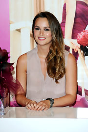 Leighton Messter showed off her long two-toned curls at the launch of Vera Wang's new fragrance.