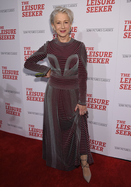 Helen Mirren paired studded gray pumps with a beaded maroon dress, all by Valentino, for the New York screening of 'The Leisure Seeker.'