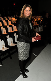 Jenna Bush looked sophisticated in black patterned peep-toe pumps at the Lela Rose Fall 2012 fashion show.