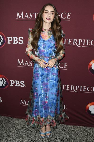 More Pics of Lily Collins Platform Sandals (3 of 27) - Lily Collins Lookbook - StyleBistro [les mis\u00e9rables,clothing,dress,carpet,red carpet,premiere,fashion,long hair,flooring,footwear,electric blue,lily collins,photo call,les mis\u00e3,linwood dunn theater,los angeles,california]