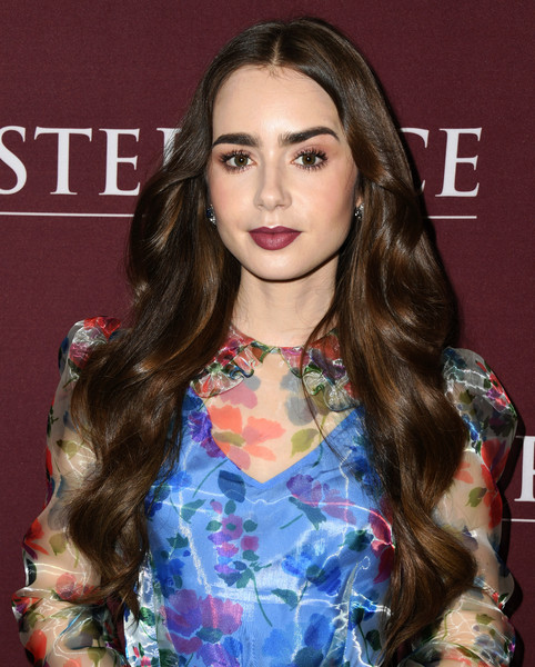 More Pics of Lily Collins Platform Sandals (5 of 27) - Lily Collins Lookbook - StyleBistro [les mis\u00e9rables,hair,face,hairstyle,eyebrow,long hair,lip,brown hair,beauty,fashion,eyelash,lily collins,photo call,les mis\u00e3,linwood dunn theater,los angeles,california]