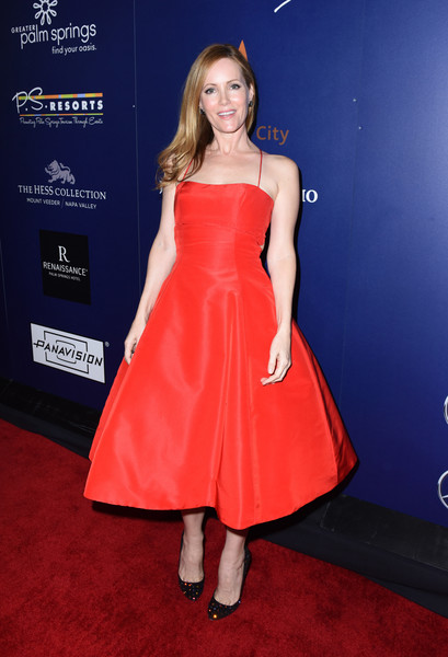 Leslie Mann Evening Pumps [the comedian,dress,clothing,carpet,cocktail dress,red,premiere,strapless dress,red carpet,fashion model,hairstyle,leslie mann,palm springs,california,palm springs international film festival film - closing night screening ``the comedian,reception,closing night screening]