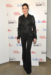 Hilary Rhoda opted for a fashion forward lok at the premiere of 'Letters to Haiti' in a leather jacket with jersey panels and an uneven hem.