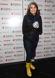 "Tina's yellown rain boots work well with her ""gap"" looking winter style."