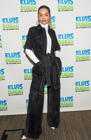 Rita Ora matched her coat with a pair of flare jeans, also by Adam Lippes.
