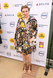 Lena Dunham was a visual explosion in her quirky clock-print dress during the LA Loves Alex's Lemonade event.