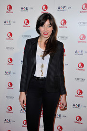 Daisy Lowe adorned her casual outfit with a long charm necklace for the Lifetime launch party.