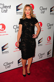 Elisabeth Rohm looked classic in this lacy LBD at the launch party of 'The Client List'.
