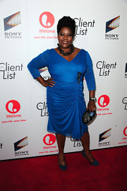 Loretta Devine wore this ruched cerulean dress to the launch of 'The Client List.'
