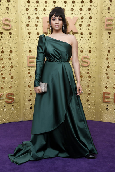 Lilly Singh One Shoulder Dress [dress,clothing,gown,fashion model,bridal party dress,shoulder,formal wear,green,carpet,lady,arrivals,lilly singh,emmy awards,microsoft theater,los angeles,california]