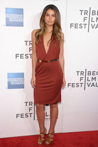 Lily Aldridge Strappy Sandals [talihina sky: the story of kings of leon,clothing,dress,cocktail dress,red carpet,fashion model,shoulder,carpet,fashion,hairstyle,footwear,lily aldridge,new york city,bmcc tribeca pac,premiere,2011 tribeca film festival,premiere]