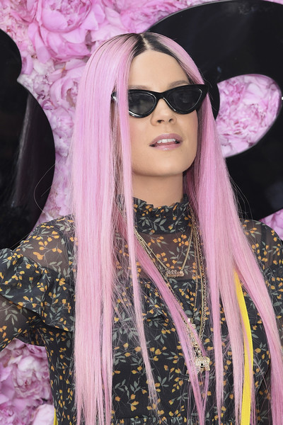 Lily Allen Long Straight Cut [eyewear,hair,pink,lip,cool,purple,hair coloring,beauty,hairstyle,eyebrow,summer 2019,dior homme,outside arrivals,lily allen,spring,part,paris,paris fashion week,show,dior homme menswear spring]