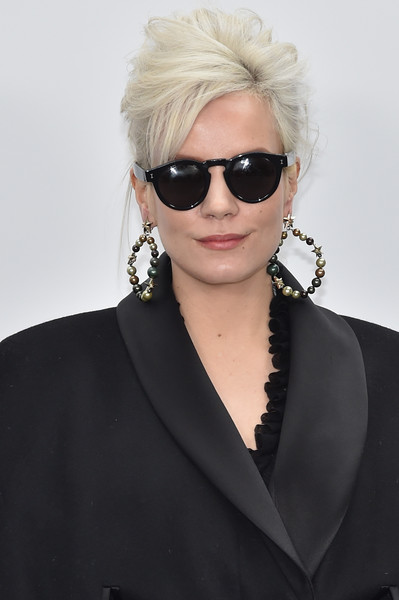 Lily Allen Messy Updo [show,eyewear,hair,sunglasses,hairstyle,blond,beauty,glasses,lip,fashion,vision care,lily allen,front row,part,paris,france,chanel,paris fashion week womenswear fall]
