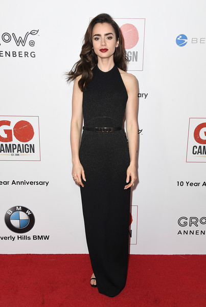 Lily Collins Halter Dress