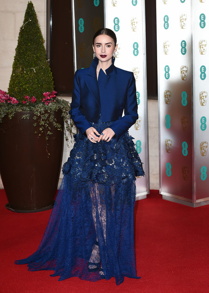 Lily Collins Cropped Jacket [red carpet,carpet,flooring,formal wear,dress,fashion,premiere,gown,event,haute couture,red carpet arrivals,lily collins,ee,england,london,grosvenor house,british academy film awards gala,british academy film awards gala dinner,lily collins,72nd british academy film awards,london,british academy film awards,red carpet,tolkien,bafta rising star award,actor,image]