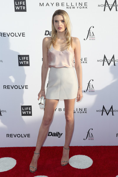 Lily Donaldson Mini Skirt [clothing,dress,cocktail dress,red carpet,shoulder,fashion model,carpet,fashion,premiere,joint,arrivals,lily donaldson,west hollywood,california,sunset tower hotel,daily front row,3rd annual fashion los angeles awards]