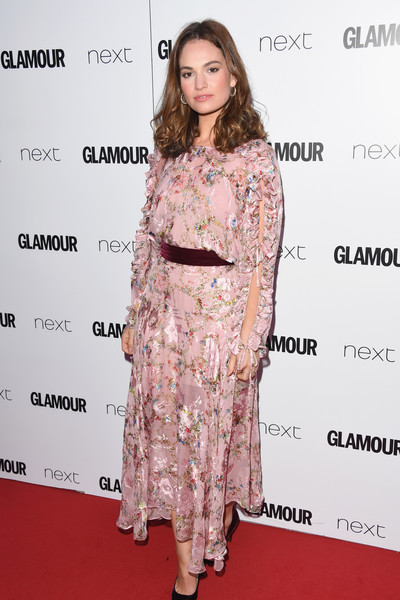Lily James Print Dress [clothing,hair,red carpet,dress,fashion model,hairstyle,shoulder,fashion,premiere,carpet,lily james,glamour women of the year awards,awards,england,london,berkeley square gardens,red carpet arrivals,glamour women of the year]