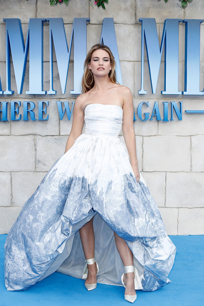 Lily James Evening Pumps [mamma mia,mamma mia,here we go again,gown,blue,wedding dress,dress,fashion model,bridal clothing,beauty,cocktail dress,photo shoot,lady,lily james,uk,eventim apollo,england,london,here we go again - uk,premiere]