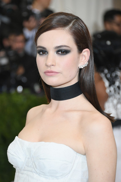 Lily James Long Side Part