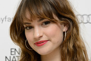 Lily James Long Wavy Cut with Bangs