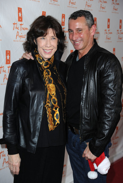 Lily Tomlin Patterned Scarf [kathy griffin performs at the gibson amphitheatre,premiere,event,leather jacket,jacket,leather,textile,outerwear,lily tomlin,adam shankman,kathy griffin,the trevor project,aid,universal city walk,the gibson amphitheatre,universal city,california]