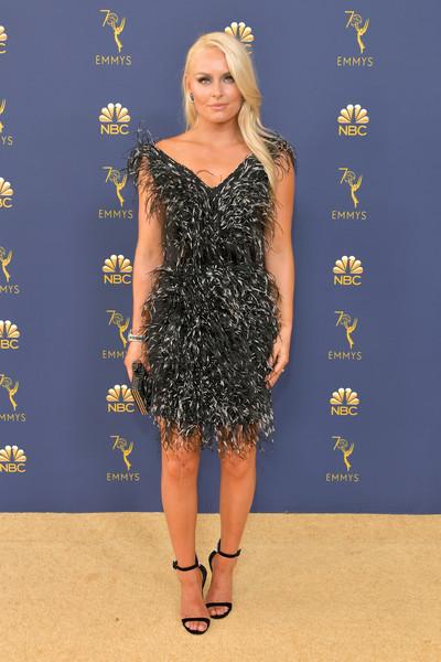 Lindsey Vonn Evening Sandals [clothing,dress,cocktail dress,carpet,red carpet,hairstyle,fashion,little black dress,footwear,long hair,arrivals,lindsey vonn,emmy awards,70th emmy awards,microsoft theater,los angeles,california]