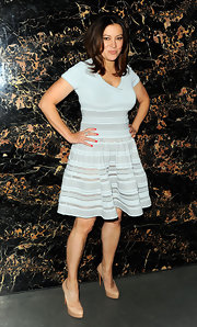 Jennifer Tilly chose to wear this powder blue ribbed knit dress to the 'Safe' premiere in NYC.