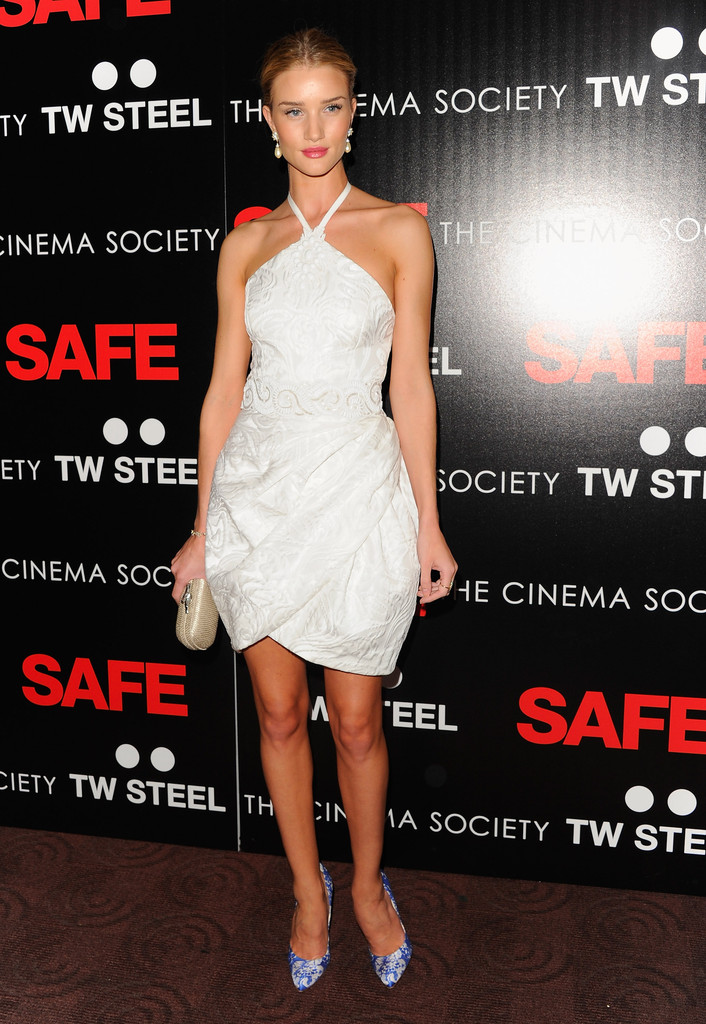 "Model Rosie Huntington-Whiteley attends the Lionsgate and IM Global with the Cinema Society screening of ""Safe"" at Chelsea Clearview Cinema on April 16, 2012 in New York City."