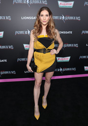 Allison Holker flaunted her toned legs in a structured strapless mini dress at the LA premiere of 'Power Rangers.'