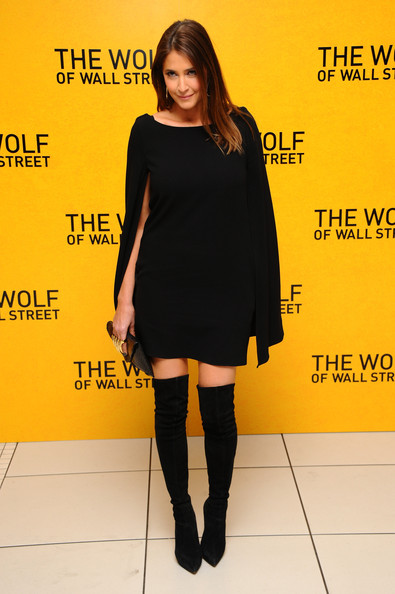 Lisa Snowdon Over the Knee Boots [the wolf of wall street,clothing,shoulder,joint,dress,little black dress,footwear,knee,yellow,leg,fashion model,lisa snowdon,part,london,england,leicester square,uk premiere]