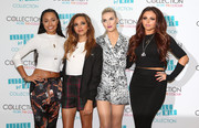 Perrie Edwards looked cute and stylish in a print romper during the Little Mix makeup range launch.