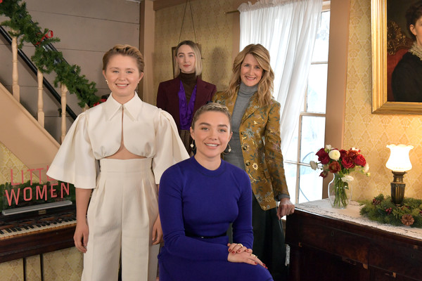 More Pics of Florence Pugh Sweater Dress (1 of 15) - Florence Pugh Lookbook - StyleBistro [people,event,smile,family,ceremony,eliza scanlan,saoirse ronan,little women,florence pugh,laura dern,photo call,orchard house,concord,little women orchard house,photo call]